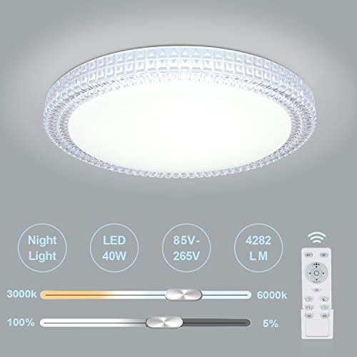 LED Ceiling Light, OOWOLF 40W 15.4 Inch 3000-6000k Dimmable LED Fixture Lamp Brightness Adjustable Ceiling Light with Remote for Bedroom, Kitchen, Living Room, Balcony, Stairways