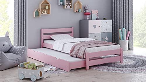 Children's Beds Home - Cama individual con nido - Simba para niños pequeños y adolescentes - Tamaño 180x80, color rosa, colchón de espuma de alta resistencia de 12 cm