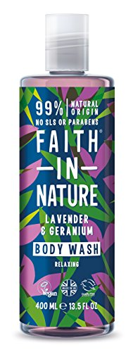 Faith in Nature Gel de Baño Natural de Lavanda y Geranio, Nutritivo, Vegano y No Testado en Animales, sin Parabenos ni SLS, 400 ml