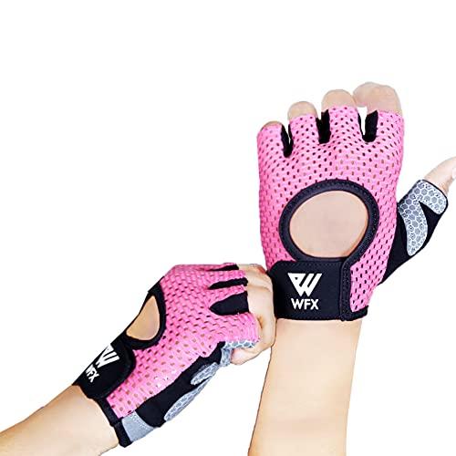 Guantes de fitness transpirables para hombre y mujer, para levantamiento de pesas, para culturismo, gimnasio, entrenamiento, crossfit, entrenamiento de fuerza (rosa, L)