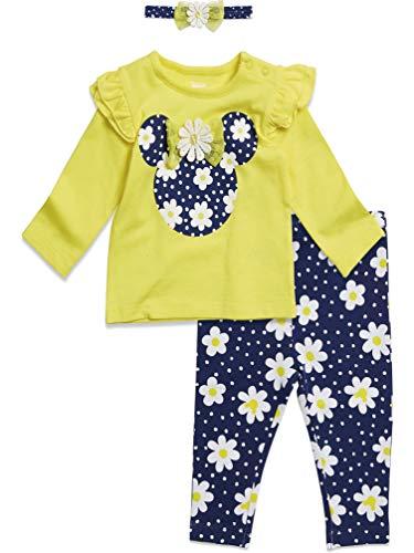 Disney Minnie Mouse Baby Girls Long Sleeve T-Shirt Headband & Pant Set 18 Months Yellow