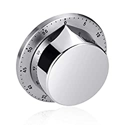 Kitchen Timer,Magnetic Kitchen Timer Kitchen Cooking Timer Clock With Bell Alarm Clock,No Battery Needed,100% Mechanical-Magnetic Backing, Exquisite Stainless Steel Body, Countdown Reminder, (Round)
