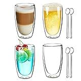 Joeyan Bicchieri a Doppia Parete Set di 4-400ml Bicchieri Termici da caffè - Tazza in Vetro Borosilicato per Latte, Cappuccino, Succo, tè, Acqua - Gratuito 4 Cucchiai