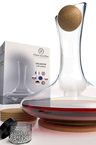 Carafe à Décanter le Vin en Crystallin 100% Fabriqué Main en Europe - incl. Accessoires Billes Nettoyantes en Acier, Bouchon Pure Liège et Dessous de Verre - Décanteur Aérateur pour Vin Rouge et Blanc