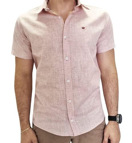 Camisa Social Slim Fit Manga Curta (ROSA FLAME, G)