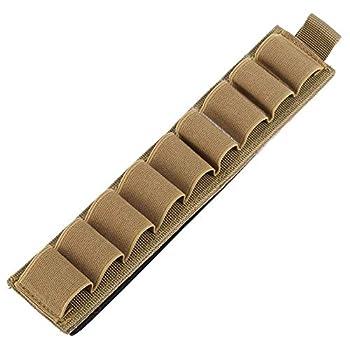 Shotgun Cartridge Holder 9 Rounds Nylon Shell Holder Ammo Pouch Multifunctional Shotshell Holder Molle Hunting Pouch with Adhesive Backing Strip Khaki