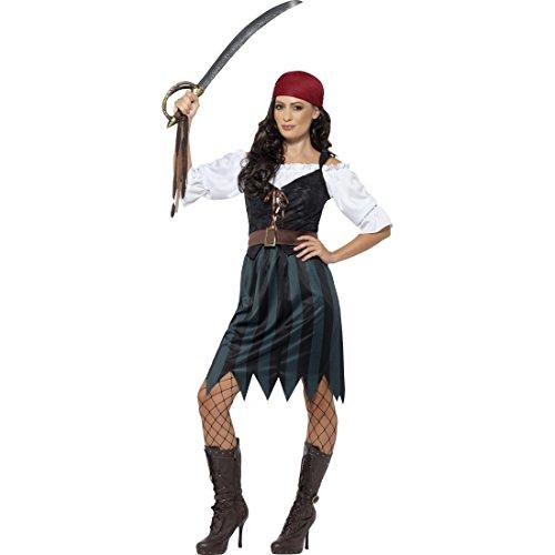 Amakando Traje corsaria Disfraz Pirata Mujer XL 48/50 Vestimenta saqueadora Novia corsario Carnaval Atuendo bucanera Outfit bucanero Mujer