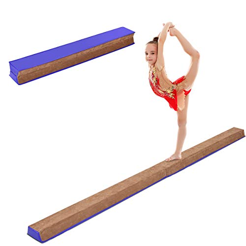 Giantex 8 Ft Foldable Balance Beam, with Suede Cover, Hook and Loop Fastener for Freely Attachment, Non Slip Rubber Base, Easy to Carry and Storage, Floor Gymnastics Beam for Kids Adults Practice