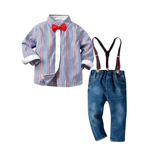 Voberry- Costume Enfant Chemise Gentleman Rayée Nœud Papillon Rayé à Manches Longues Chemise + Jean Strap (18M-7T)