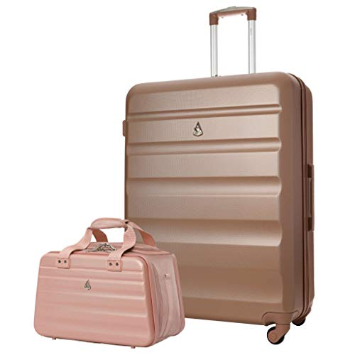 Aerolite 29' Large Lightweight ABS Hard Shell Check in Luggage Suitcase + Ryanair Max Size 40x20x25cm Hand Cabin Shoulder Flight Bag Rose Gold + Rose Gold