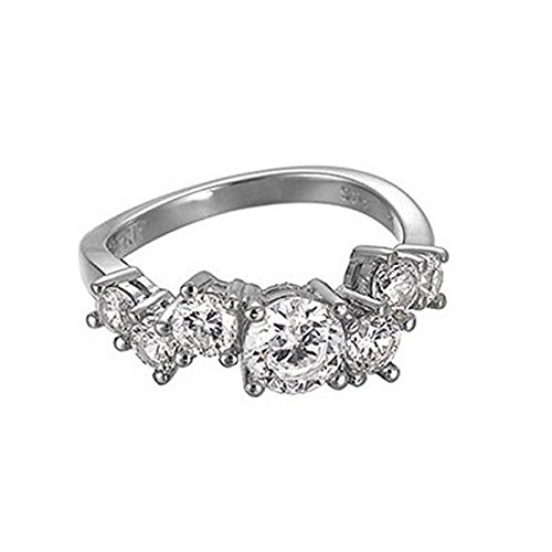 Esprit Damen-Ring glamour criss cross 925 Sterlingsilber 7 Zirkonia farblos Gr. 17 ESRG91728A170