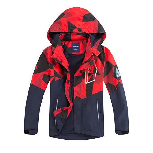 Natashas, giacca impermeabile per bambini, per le mezze stagioni, con fodera in pile, calda, traspirante, antivento, giacca softshell con cappuccio Colore: rosso 134 cm-140 cm