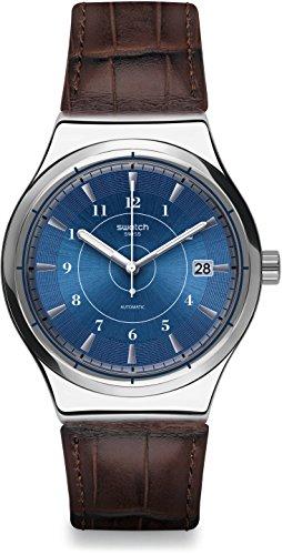 Swatch Herren Digital Automatik Uhr mit Leder Armband YIS404