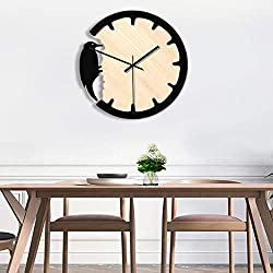 milkcha 4th of July Clock, Nordic Woodpecker Style Wall Clock Silent Wooden Clock Home Living Room, for Home & Garden