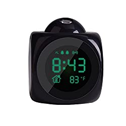 LCD Clock Projection Alarm Clock for Bedrooms, Digital Voice Alarm Clock with Large LCD Display & Dimmer, 12/24 H,Thermometer, Snooze,Desk Wall Ceiling Clock
