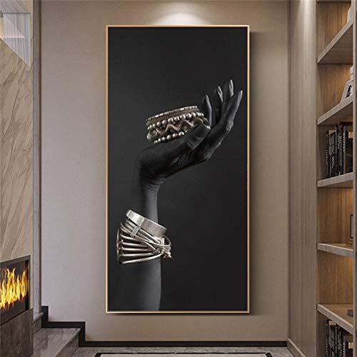 LZASMMVP Mano Negra con Joyas de Plata Carteles e Impresiones en Lienzo Modelo de Manos Negras Pinturas en Lienzo en la Pared Imágenes artísticas 70x140cm Sin Marco