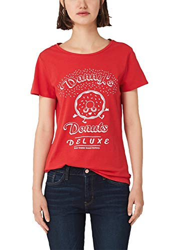 Q/S designed by - s.Oliver Damen 41.909.32.5443 T-Shirt, Rot (Candy Placed Print 31d1), L
