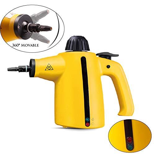 SHELLTB Handbedruckter Dampfgarer Elektrischer Dampfreiniger mit 9-teiligem Zubehör Hochtemperatur-Dampfgarer Sterilisator Handheld-Dampfwischgerät,Yellow