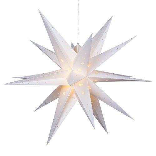 24' White Moravian Star Fold-Flat Christmas Star Lights Reusable LED Star Christmas Decoration - Hanging Star Party Lantern Light