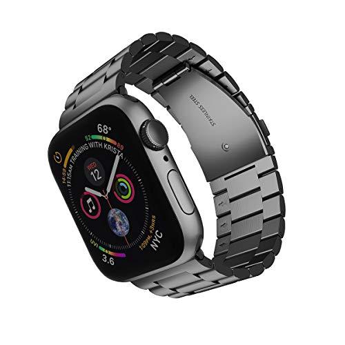 ARTCHE Uhrenarmband Edelstahl, 42mm 44mm Breites Uhrenarmband für Apple Watch, Uhrarmband Metall Verstellbarer Armband für Uhr, Uhren Band kompatibel mit Iwatch Serie 5 4 3 2 1 - Schwarz