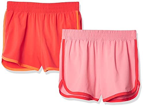 Amazon Essentials Girl's 2-Pack Active Running Short, Pink/Coral, Medium