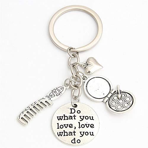 N/A 1Pc Haar Dressoir Sleutelhangers Cadeau Voor Kapper Dressoir Sleutelhanger Make Up Sleutelhanger Voor Vrouwen Doen Wat Je Liefde Sieraden