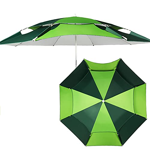 SHANJ Sombrilla de Playa Portátil,Sombrilla para Exteriores con Bolsa De Almacenamiento, Paraguas de Pesca, Anti-UV e Impermeable,Rotación de 360 Grados,Toldo Ventilado de 2 Niveles