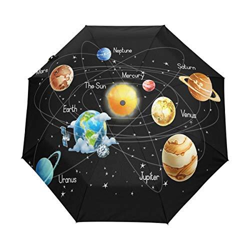XiangHeFu Paraguas Misterioso Universo Galaxy Sistema Solar Colorful Planet Auto Open Close 3 Plegable Ligero Anti-UV
