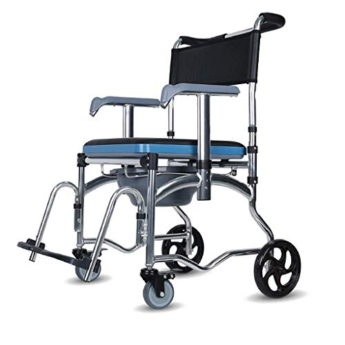 Home Commode Chair Toilet Chair Home Wheelchair Over Seat Multifunctional Shower Chair with Padded Backrest Adjustable Hand for