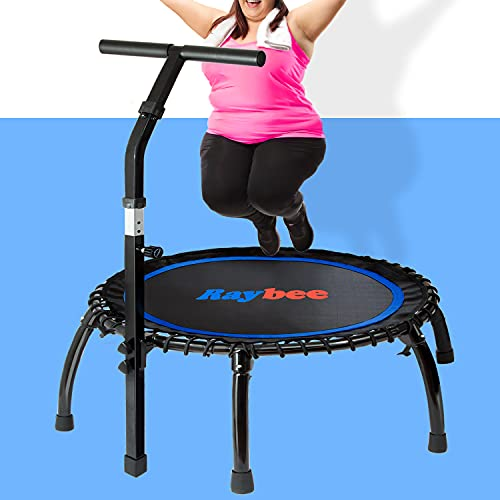 """Raybee Mini Trampoline for Adults 40"""" Folding Leg Fitness Rebounder Trampoline with Adjustable Handle, Quiet Exercise Trampoline for Indoor Outdoor Garden Workout Max 330lbs"""