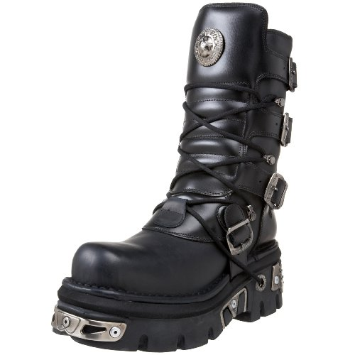 New Rock Shoes Classic New Rock Leather Boots with Reactor Sole UK 8/Black