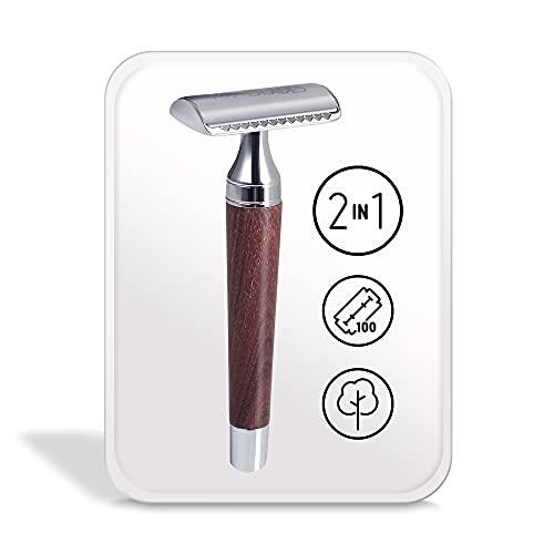 My-Blades® der 2in1 Rasierhobel aus Holz mit 100x Premium Rasierklingen (80{89fb0fb42fe81b0b93ac22b77fa63125a8dcd0a2f85f9fefe8e187a0eeb6e970} Recycelt) im Set - offener und geschlossener Kamm