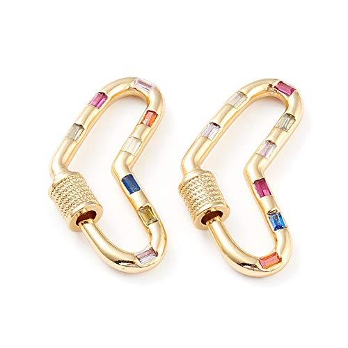 5 piezas de corazón micro pavimentado con circonita cúbica con cierre de mosquetón, chapado en oro de 18 quilates, mosquetón de bloqueo de 30,5 x 14 mm, para collares de fabricación de joyas