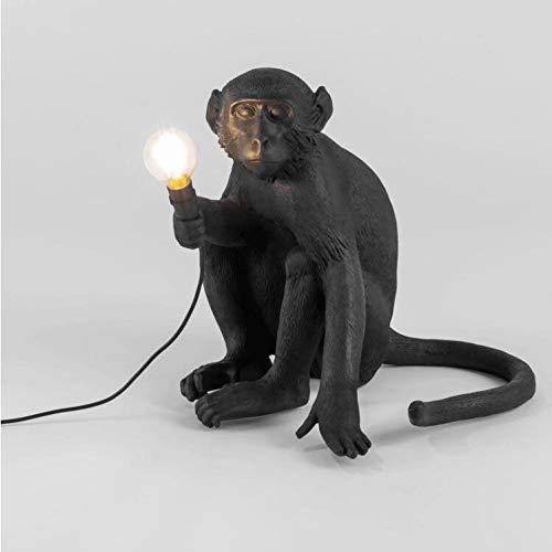 LYABANG Monkey Lamp Sitzender Nordic Kreative AFFE Licht Hängend, Affenförmig Lampe Harz,Schwarz, 31 X 31 X 31 cm,110-240 V