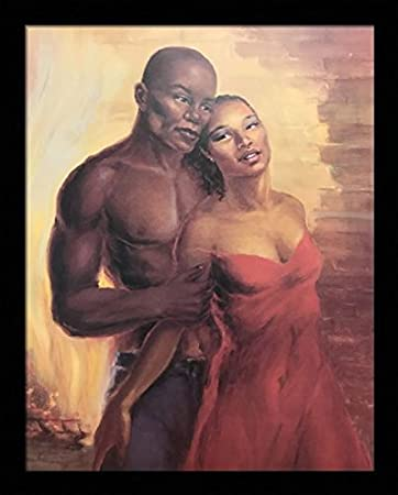Black 1 5 Inch Framed With Fiery Love Valentine Romantic Couple African American Black Art 3 22x28 4 22x28 Inch Suzy Hart Art Print Poster Posters Prints
