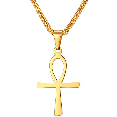 "Ankh Cross Necklace for Men Women, 18K Gold Plated Egyptian Jewelry Pendant with Chain Coptic Life Cross Necklace Amulet Gift 22 Inch + 2"" Extender"