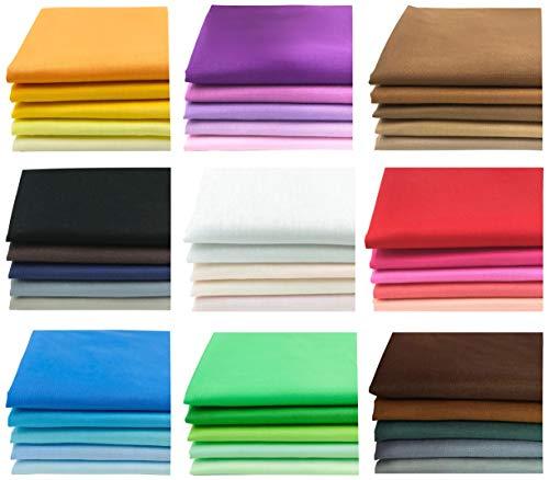 8' x 8' 100% Pure Cotton Craft Fabric Bundle Precut Sewing Quilting Squares DIY Handmade Patchwork, 50 Pieces Bright Solid Colors (50PCS 20cm×20cm)