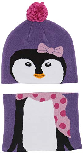 Columbia Baby Snow More Hat and Gaiter Set, grape gum penguin, One Size