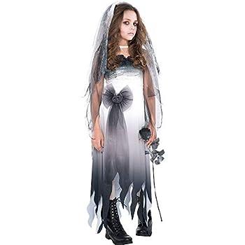 amscan Graveyard Bride Halloween Costume for Girls Medium  8-10  Includes Dress and Veil Headband