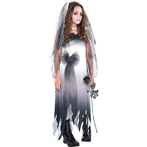 Amscan Graveyard Bride Halloween Costume for Girls, Medium (8-10), Includes Dress and Veil Headband