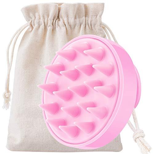 MELLIEX Kopfhaut Massagebürste, Silikon Shampoo Bürste [Nass & Trocken] Haarbürste für Kopfmassage und Peeling Verbessert die Durchblutung(Rosa)