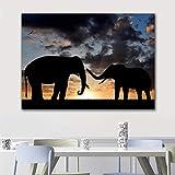 Dos elefantes lienzo imagen arte amanecer paisaje pintura de pared carteles e impresiones ilustraciones de animales para sala de estar 40x60 cm sin marco