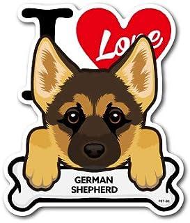 PET-033 GERMAN SHEPHERD ジャーマン・シェパード DOG STICKER ドッグステッカー 車 犬 イラスト アイラブ ペット 愛犬