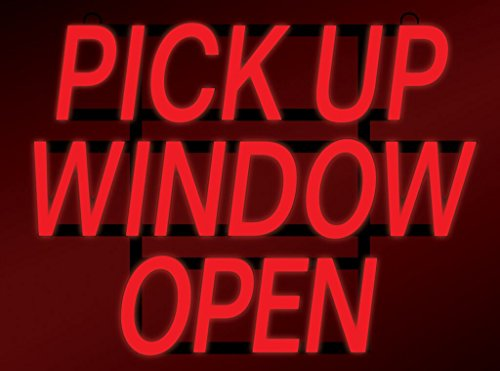 """ComeAlong Industries Red Heavy Duty LED""""Pick UP Window Open"""" Sign, 23-Inch Wide x 17-Inch High"""