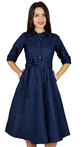 Bimba Frauen Blue-Denim-Shirt-Kleid mit Taschen 3/4 Arm lässig midi Kleider