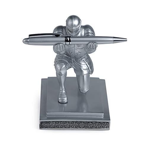 ThreeH Executive Knight Portalápices Soporte para bolígrafos con un bolígrafo Decoración personalizada para escritorio Premio de regalo de oficina Plata