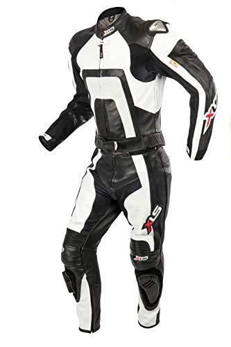 XLS Lederkombi Zweiteiler Motorradkombi schwarz weiß zweiteilig (58)