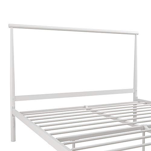REALROOMS Calixa Modern Metal Platform Bed Frame, Industrial Minimalist Design with Headboard, Twin, White