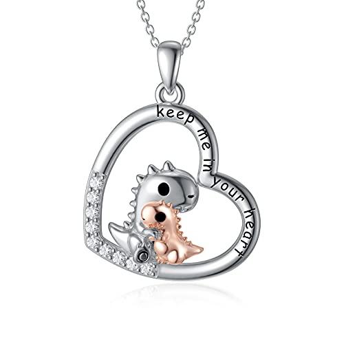 PEIMKO Regalo de dinosaurio, plata de ley 925, colgante de dinosaurio, madre e hija, animales, collar para mujeres, dinosaurios, joyas de cumpleaños para niñas