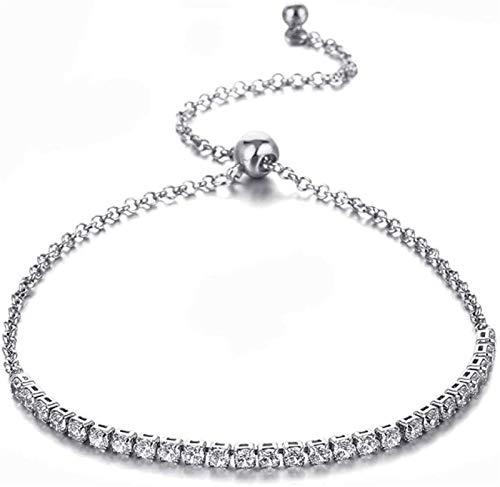 KEEBON Pulsera de plata esterlina para mujeres, Moda 925 Pulsera de tenis de plata maciza Ajustable Hecho a mano de Zircon Brazalete Exquisito Joyería de Lucky para Amigo Cumpleaños Lady Pareja Regalo